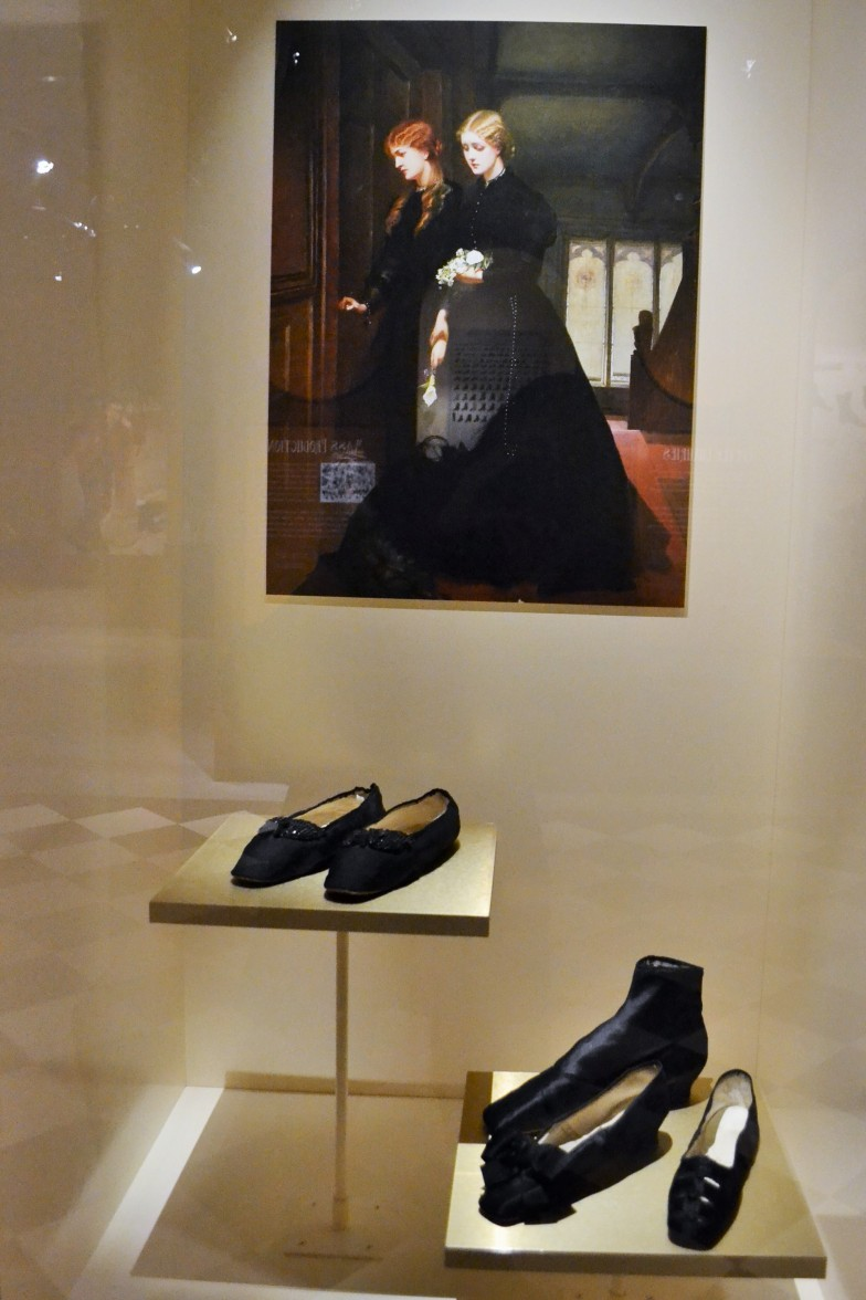 Mourning clothes were part of the elaborate Victorian rituals inspired by Queen Victoria. Women in mourning were expected to follow a strict and fashionable dress code, wearing full black outfits for up to two years.  Shoes: Victorian slippers, c.1860s (Collection of the Bata Shoe Museum)
