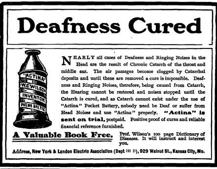 Advertisement for Actina, Health magazine, December 31, 1903.