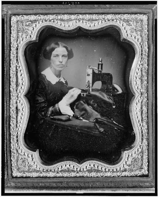 Occupational portrait of a woman working a sewing machine. Daguerreotype, c.1853 (Library of Congress)