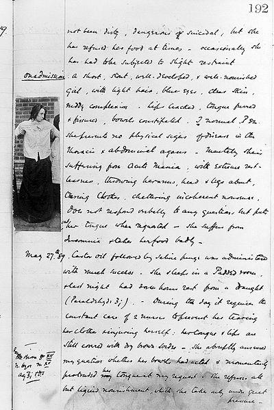 Holloway Sanitorium case notes for Constance Coddingto, 1889 (Wellcome Library)