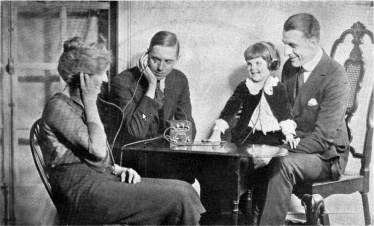 A family listening to a crystal radio, 1920s. From a 1922 advertisement for Freed-Eisemann radios in Radio World magazine. (Wikipedia)
