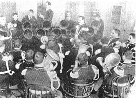 The U.S. Marine Band recording a phonogram, 1891 (Library of Congress Sounds Division)