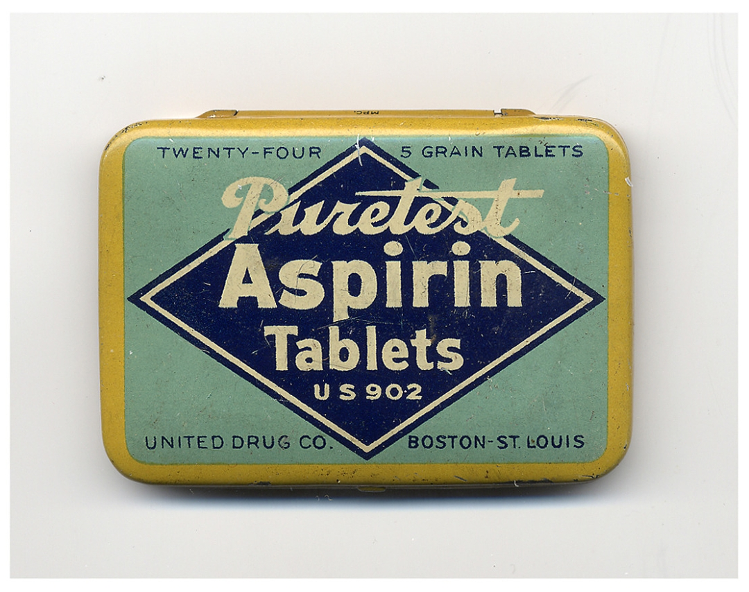 """Purest Asprin Tablets,"" (after 1921), made by the United Drug Company. National Museum of American History, Kenneth E. Behring Center"
