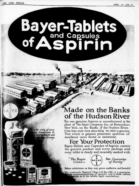 A 1918 advertisement for Bayer Aspirin in the New York Tribune. By this time, the aspirin patent had expired, but Bayer still had control over the Aspirin trademark. References to patriotism were used to sell US Liberty Bonds. Library of Congress/Wikipedia Commons