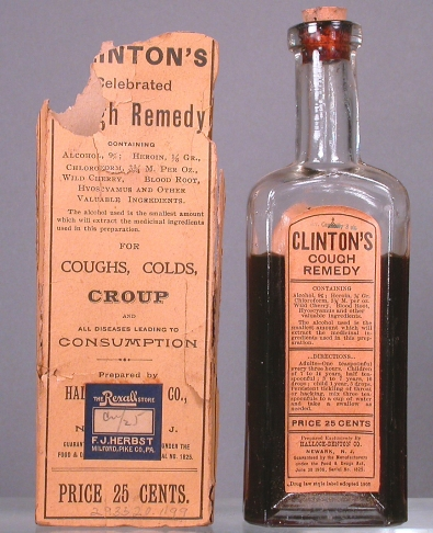 "Clinton's Cough Remedy (1908-1918), ""for coughs, colds, croup, and all diseases leading to consumption,"" made by the Hallock-Denton Company. Active drug ingredients include:  alcohol 9%, heroin 1/8 gr., chloroform 3 3/4 m. per oz., wild cherry, blood root, and hyoscyamus. National Museum of American History, Kenneth E. Behring Center"