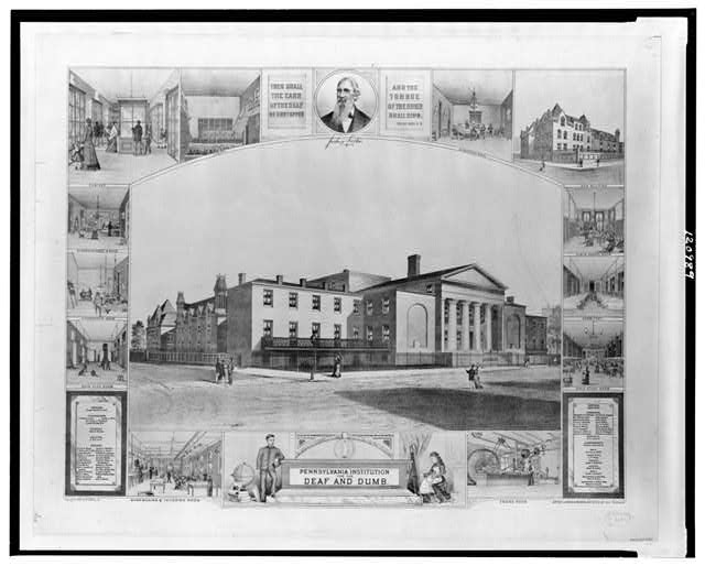 The Pennsylvania Institute for the Deaf and Dumb. Lithograph by James S. Reider,  c1880.