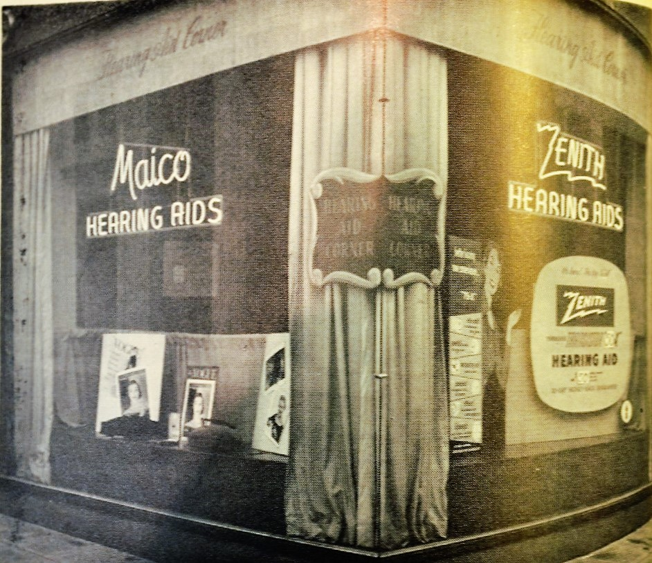 A hearing aid store (location unnamed) highlighting two popular brands: Macio and Zenith.